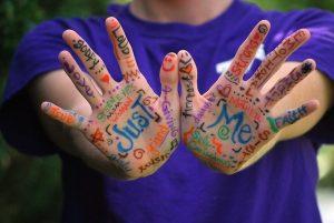 Dos palmas de las manos abiertas con emociones y pensamientos escritos en diversos colores y tipografías
